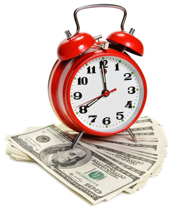 Clock with cash