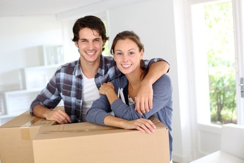 Man and Woman with Moving Box
