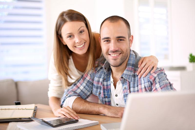 Woman and Man at Computer